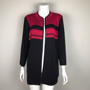 Exclusively Misook Open Jacket Cranberry Red/Black